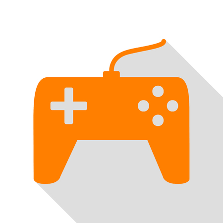 Joystick simple sign. Orange icon with flat style shadow path.