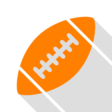 American simple football ball. Orange icon with flat style shadow path. Illustration
