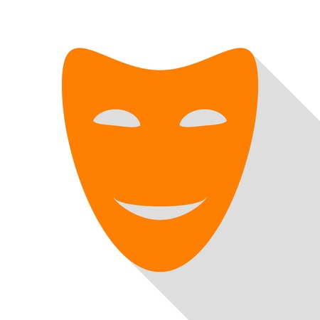 Comedy theatrical masks. Orange icon with flat style shadow path.