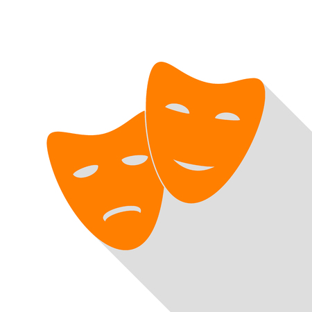 comedy: Theater icon with happy and sad masks. Orange icon with flat style shadow path. Illustration