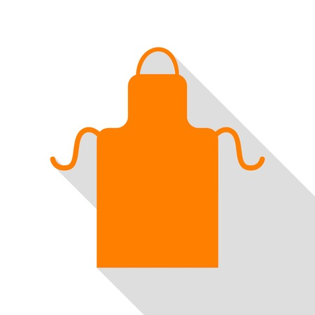 Apron simple sign. Orange icon with flat style shadow path. Illustration