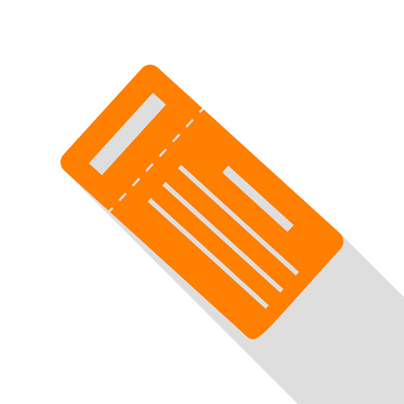Ticket simple sign. Orange icon with flat style shadow path.