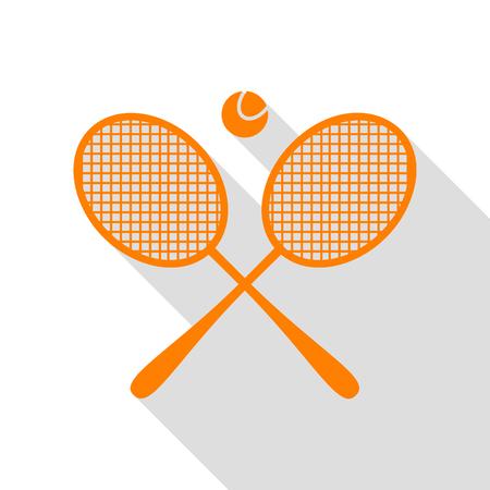 Tennis racket sign. Orange icon with flat style shadow path. Illustration