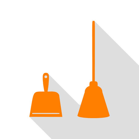 whisk broom: Dustpan vector sign. Scoop for cleaning garbage housework dustpan equipment. Orange icon with flat style shadow path. Illustration