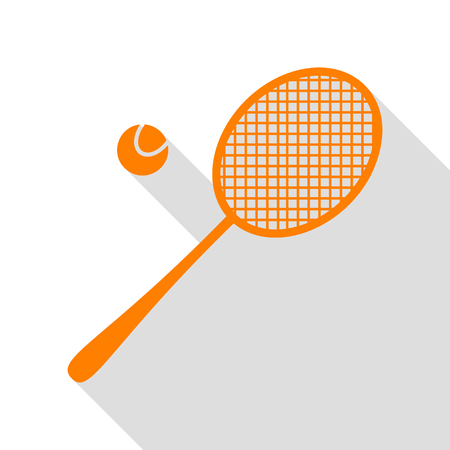 Tennis racquet sign. Orange icon with flat style shadow path.