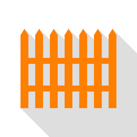 Fence simple sign. Orange icon with flat style shadow path. Illustration