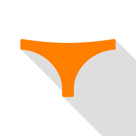 women s clothes: Womens panties sign. Orange icon with flat style shadow path.