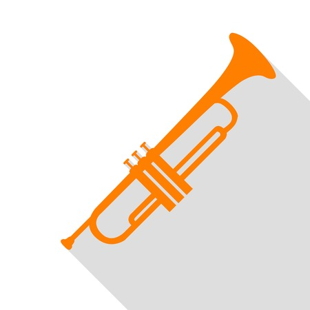 Musical instrument Trumpet sign. Orange icon with flat style shadow path.