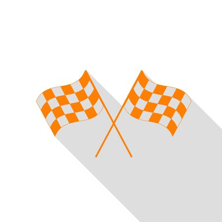 Crossed checkered flags logo waving in the wind conceptual of motor sport. Orange icon with flat style shadow path.