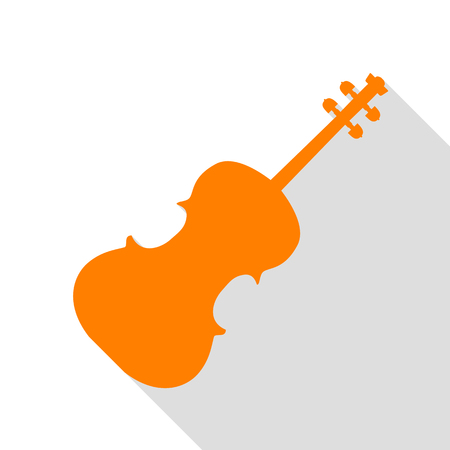 Violine sign illustration. Orange icon with flat style shadow path. Illustration