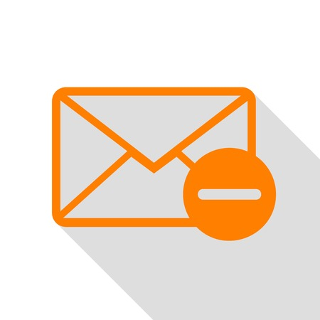 Mail sign illustration. Orange icon with flat style shadow path.