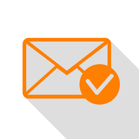 Mail sign illustration with allow mark. Orange icon with flat style shadow path.
