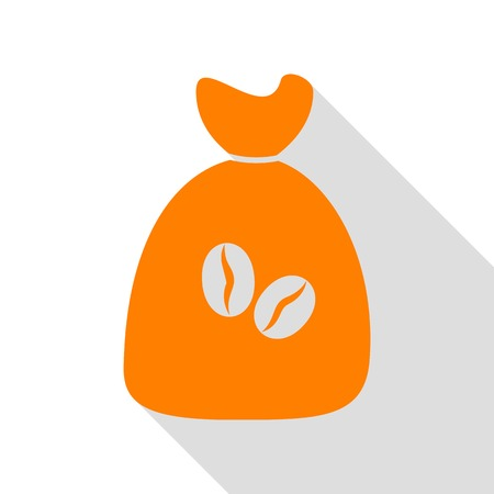 Coffee bag Icon. Coffee bag Vector. Coffee bag Icon Button. Orange icon with flat style shadow path.