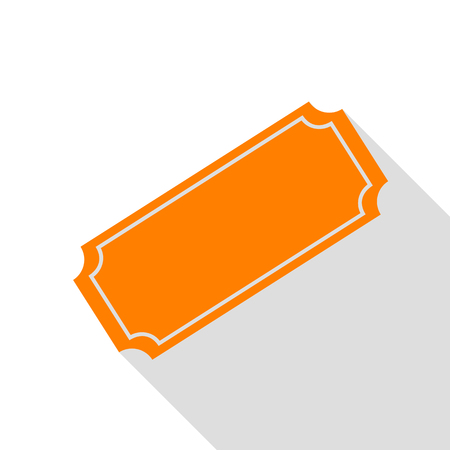 Ticket sign illustration. Orange icon with flat style shadow path.