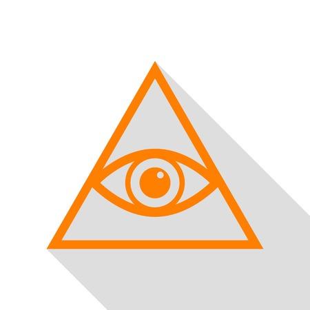 ojo de horus: Todo lo ve símbolo de la pirámide del ojo. Masón y espiritual. icono de color naranja con el camino de sombra estilo plano.