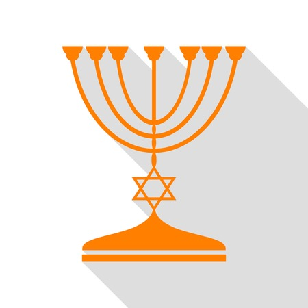 Jewish Menorah candlestick in black silhouette. Orange icon with flat style shadow path.