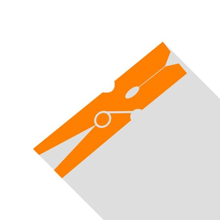 clothespeg: Clothes peg sign. Orange icon with flat style shadow path.