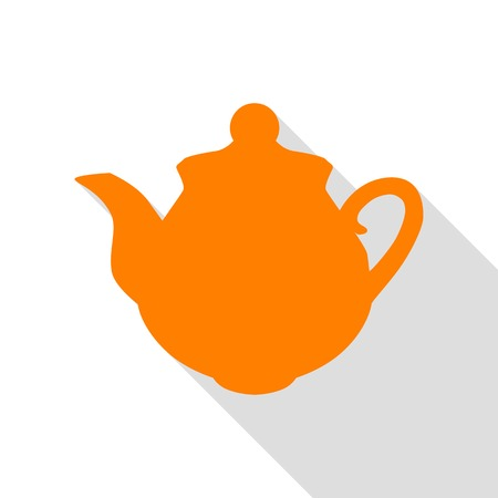 Tea maker sign. Orange icon with flat style shadow path.