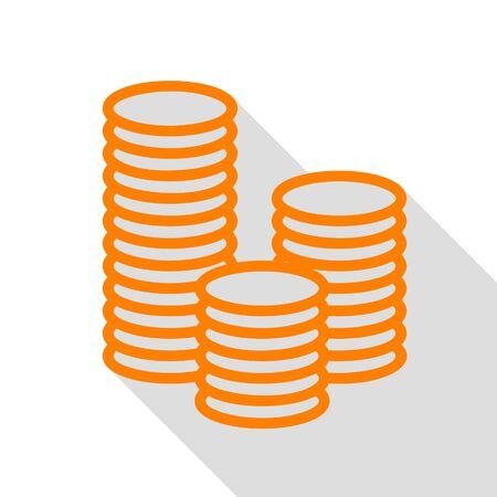 Money sign illustration. Orange icon with flat style shadow path.
