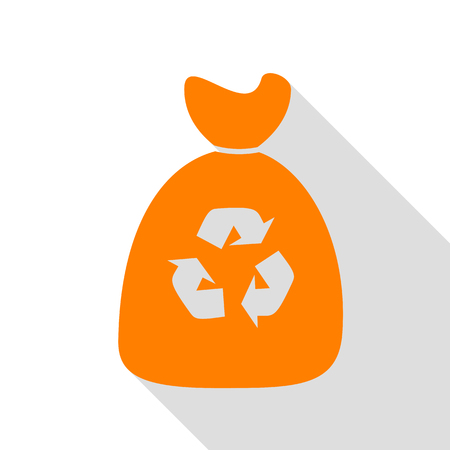 Trash bag icon. Orange icon with flat style shadow path.