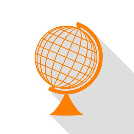 globe  the terrestrial ball: Earth Globe sign. Orange icon with flat style shadow path. Illustration