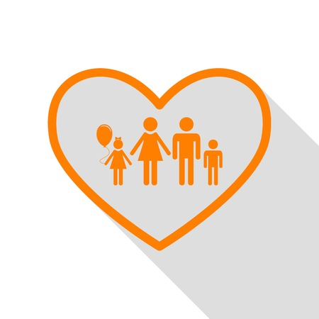 siloette: Family sign illustration in heart shape. Orange icon with flat style shadow path.