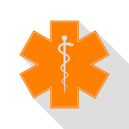 Medical symbol of the Emergency or Star of Life. Orange icon with flat style shadow path. Illustration