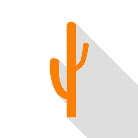 Cactus simple sign. Orange icon with flat style shadow path. Illustration