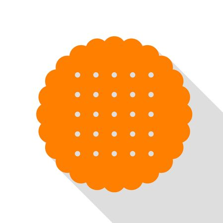 scone: Pyramid sign illustration. Orange icon with flat style shadow path.