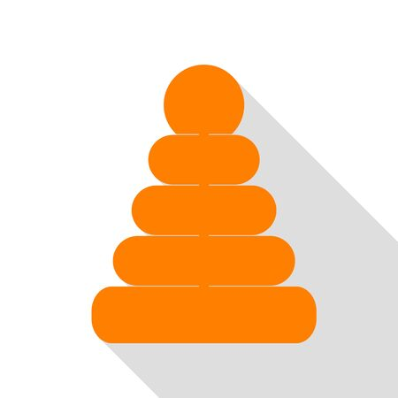 Pyramid sign illustration. Orange icon with flat style shadow path.