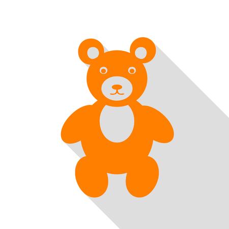 Teddy bear sign illustration. Orange icon with flat style shadow path.
