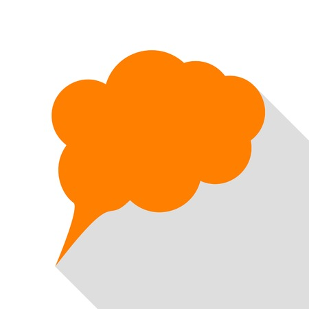 speach: Speach bubble sign illustration. Orange icon with flat style shadow path.