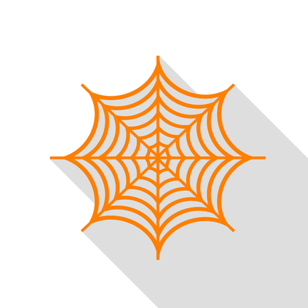 Spider on web illustration. Orange icon with flat style shadow path.