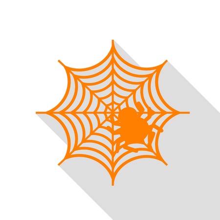 Spider on web illustration Orange icon with flat style shadow path.