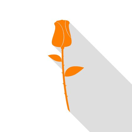 Rose sign illustration. Orange icon with flat style shadow path. Illustration