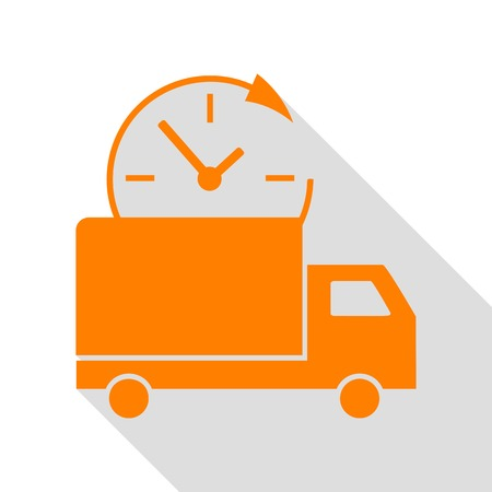 Delivery sign illustration. Orange icon with flat style shadow path.