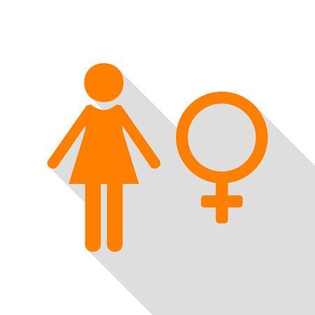 Female sign illustration. Orange icon with flat style shadow path.