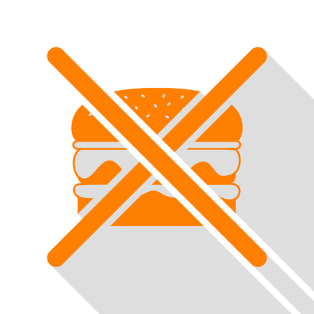 No burger sign. Orange icon with flat style shadow path.