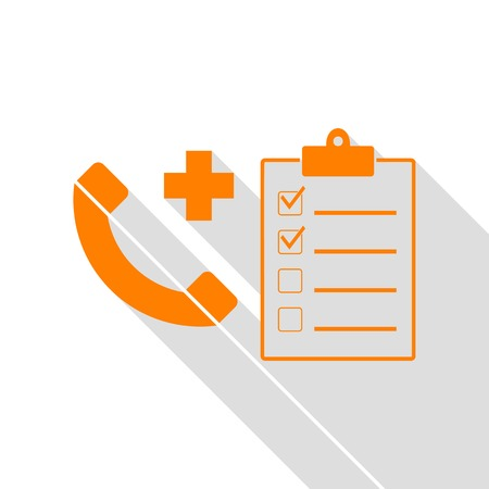 hearing aid: Medical consultration sign. Orange icon with flat style shadow path.