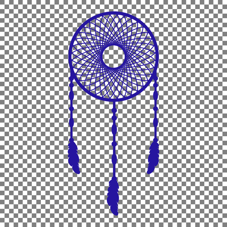 swelled: Dream catcher sign. Blue icon on transparent background. Illustration
