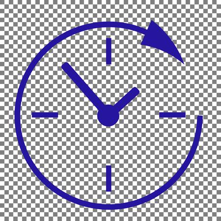 Service en ondersteuning voor klanten 24 uur per dag en 24 uur. Blauw pictogram op transparante achtergrond.