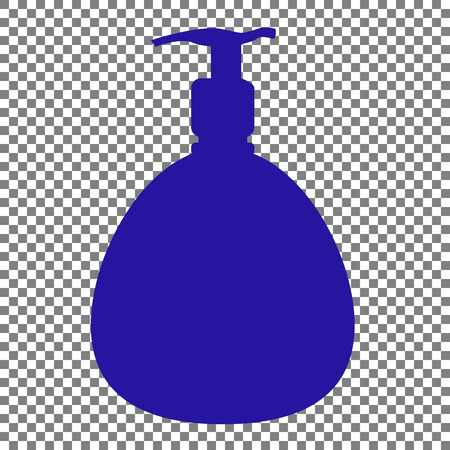 Gel, Foam Or Liquid Soap. Dispenser Pump Plastic Bottle silhouette. Blue icon on transparent background.