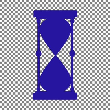Hourglass sign illustration. Blue icon on transparent background.