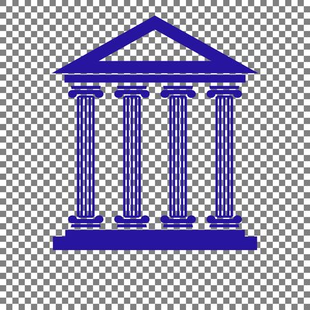 Historical building illustration. Blue icon on transparent background. Illustration