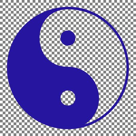Ying yang symbol of harmony and balance. Blue icon on transparent background.