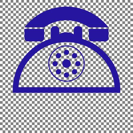 Retro telephone sign. Blue icon on transparent background. Illustration