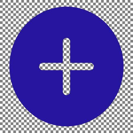 Positive symbol plus sign. Blue icon on transparent background.
