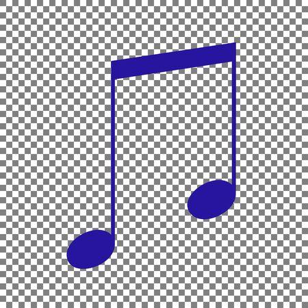 Music sign illustration. Blue icon on transparent background.