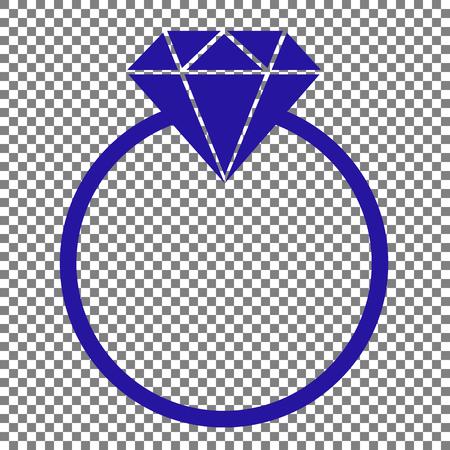 Diamond sign illustration. Blue icon on transparent background.