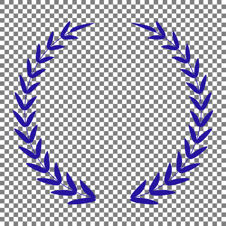 Laurel Wreath sign. Blue icon on transparent background.